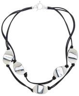 Simon Sebbag Two Strand Black Leather Floating Necklace