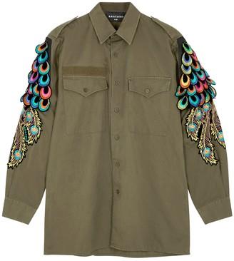 Ragyard Peacock feather-appliqued shirt