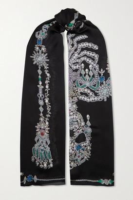 Alexander McQueen Treasure Printed Silk Scarf - Black