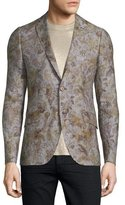 Etro Leaf-Print Two-Button Linen Blazer, Natural