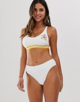 Rip Curl Essential cheeky high leg bikini bottom in white