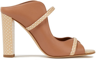 Malone Souliers Norah 100 Elaphe-trimmed Leather Mules