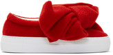 Joshua Sanders Red Felt Bow Platform Slip-on Sneakers