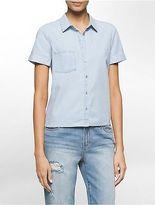 Calvin Klein Womens Light Wash Denim Short Sleeve Shirt