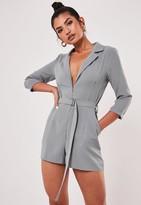 Missguided Grey Belted Blazer Playsuit