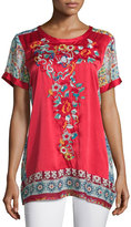 Johnny Was Yokito Embroidered Combo Tunic, Red/Multi