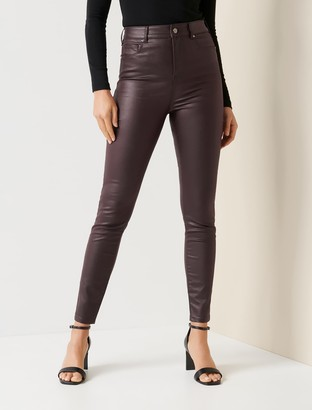 Forever New Zoe Mid-Rise Ankle Grazer Jeans - Coated Burgundy - 10