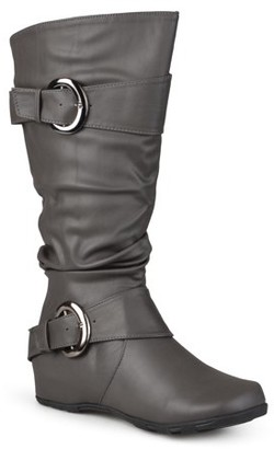 Brinley Co. Womens Wide Calf Slouchy Buckle Detail Boots