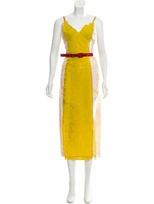Rosie Assoulin Silk Devore Dress Yellow