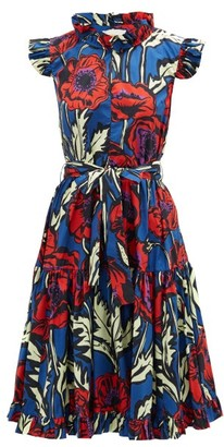 La DoubleJ Short & Sassy Floral-print Silk-satin Dress - Blue Print