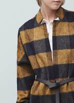 Mango Outlet Check Pattern Textured Coat