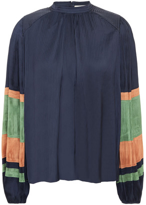 Ulla Johnson Striped Plisse-satin Blouse