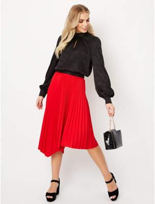 George Red Scuba Pleated Midi Skirt