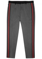 Dolce & Gabbana Grey Striped Slim-leg Wool Trousers