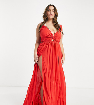 ASOS DESIGN curve tie back beach maxi dress with twist front detail in red