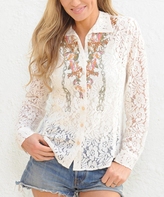 Paparazzi Cream Floral Embroidered Lace Long-Sleeve Button-Up