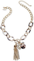 Thalia Sodi Gold-Tone Tortoiseshell-Look Charm Pendant Necklace, Only at Macy's