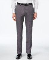 Kenneth Cole Reaction Men's Black & Charcoal Tic-Weave Slim-Fit Dress Pants
