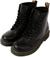 LOVEBEAUTY Women's Faux Leather Lace Up Waterproof Combat Boots Ankle Bootie US 6(EU 37)