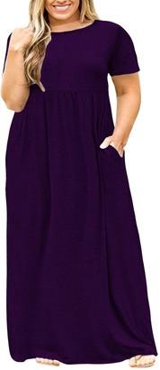 Nemidor Women Short Sleeve Loose Plain Casual Plus Size Long Maxi Dress with Pockets(Wine 28)
