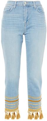L'Agence Embellished High-rise Slim-leg Jeans