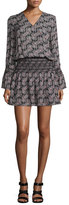 Derek Lam 10 Crosby Long-Sleeve Smocked V-Neck Dress, Black/Multicolor