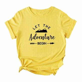 Mikialong Let The Adventure Begin T-Shirt Women Short Sleeve Graphic Travel Tshirt Cotton Shirt Top (Yellow Medium)