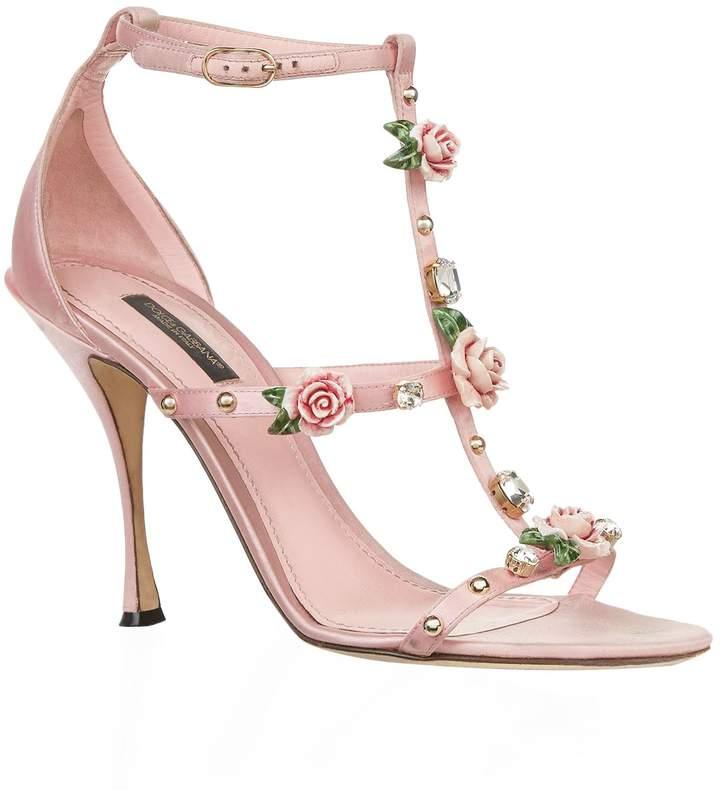 Dolce & Gabbana Embellished Satin Rose Sandals
