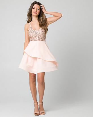 Le Château Sequin & Lace Scoop Neck Party Dress