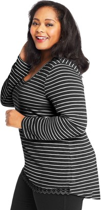 Just My Size Women's Plus-Size Lace Trim Long Sleeve Top