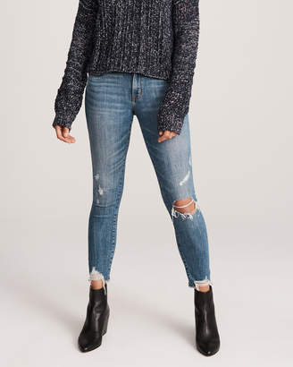 Abercrombie & Fitch A&F Women's Low Rise Ankle Jeans in Ripped Blue - Size 24S