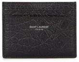 Saint Laurent Black Crocodile-effect Leather Card Holder