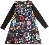 Simonetta Printed Cotton Satin & Jersey Dress