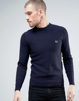 Fred Perry Texture Knit Sweater Stripe in Navy