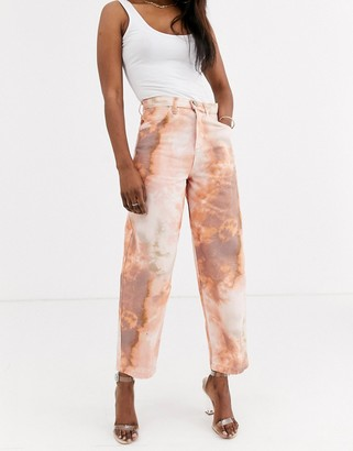 Asos Design DESIGN Carpenter boyfriend jeans in pastel tie dye-Multi
