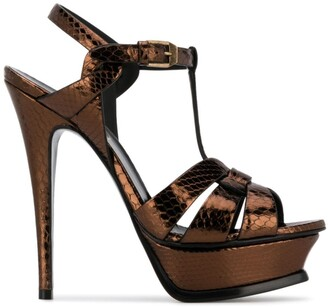 Saint Laurent Tribute 135mm metallic-effect sandals