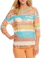 Multiples 3/4 Sleeve Embellished Drop shoulder Abstract Stripe Print Knit Top