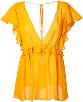 Le Ciel Bleu V-neck ruffle blouse - women - Rayon - 36