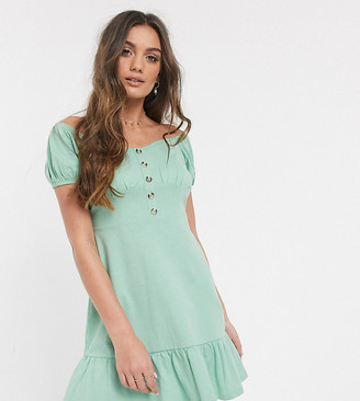 ASOS DESIGN Petite cupped off the shoulder tiered mini dress in mint