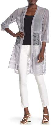 Forgotten Grace Lace Mesh Pearl Embellished Duster