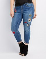 Charlotte Russe Plus Size Refuge Patches Skinny Jeans