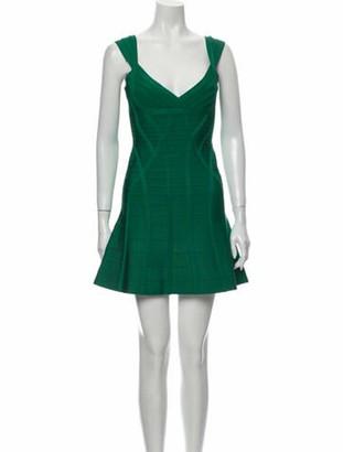 Herve Leger Plunge Neckline Mini Dress Green