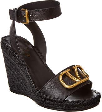 Valentino Vlogo 105 Grainy Leather Wedge Sandal