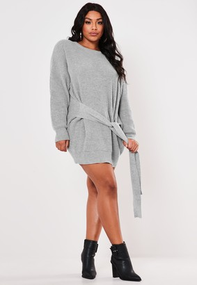 Missguided Plus Size Grey Tie Waist Jumper Dress