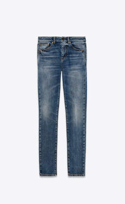 Saint Laurent Skinny Fit Jeans Skinny Jeans With Sl Coat Of Arms Embroidery Used Medium Blue 25