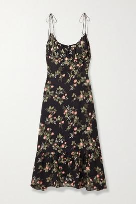 Reformation Embry Ruffled Floral-print Georgette Midi Dress - Black