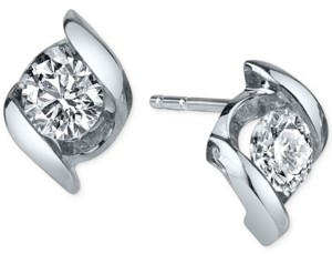 Sirena Diamond Twist Stud Earrings (1/4 ct. t.w.) in 14k White Gold