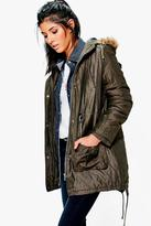 Boohoo Heidi Fishtail Parka With Fixed Faux Fur Trim
