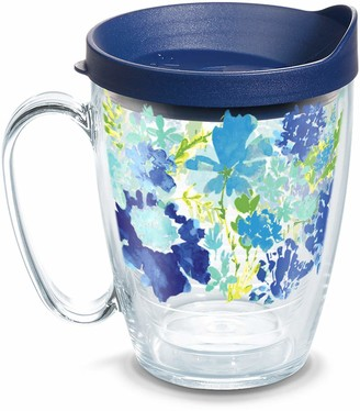 Tervis 1323295 Fiesta - Meadow Floral Insulated Travel Tumbler with Wrap and Navy Blue Lid 16oz Mug - Tritan Clear