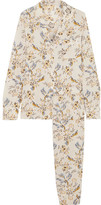 Stella McCartney Poppy Snoozing Floral-print Stretch-silk Crepe De Chine Pajama Set - Cream